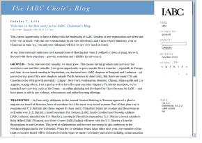 Screenshot: IABC Chair blog